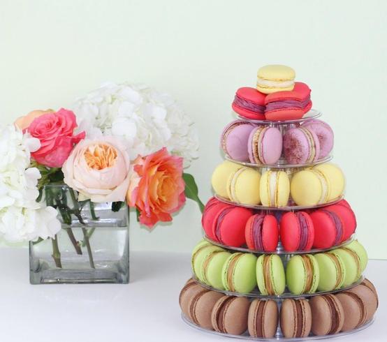 Bright colour macaron tower
