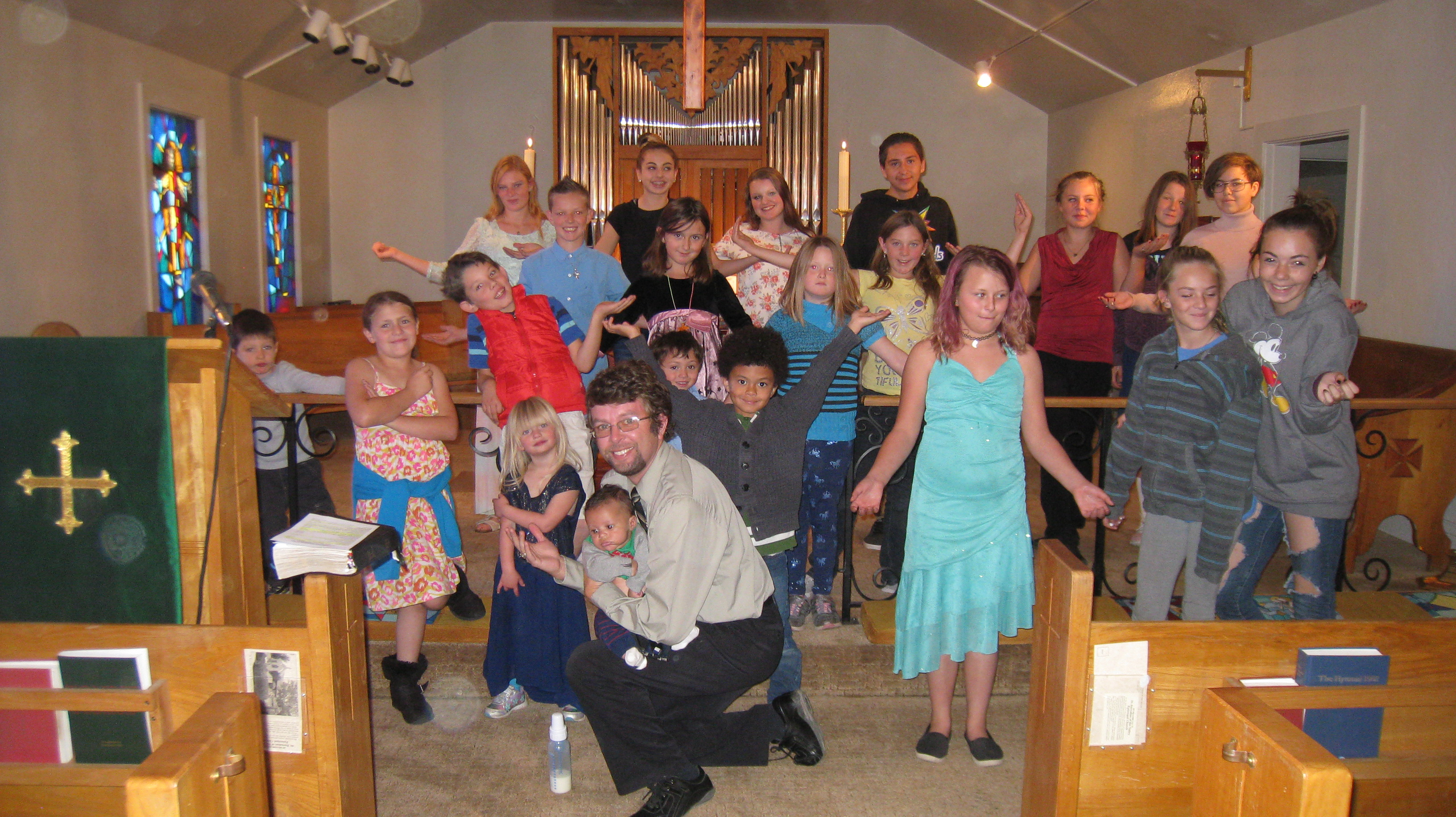 Large group of youth in the church