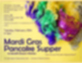 "Image reads: ""Mardi Gras Pancake Supper to Benefit Grace's Kitchen. Pancakes, Sausage Blueberry French Toast, Scrambled Eggs, Fruit, Drinks. Adults,$8, Kids 10 and under $4, Family $20, Tickets at the oor or in advance at St B's office. Tuesay, February 25th, 5-7pm. St. Barnabas Fellowship Hall - Corner of Nort and Elm"