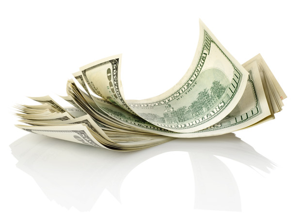 Bundle of money isolated on a white back