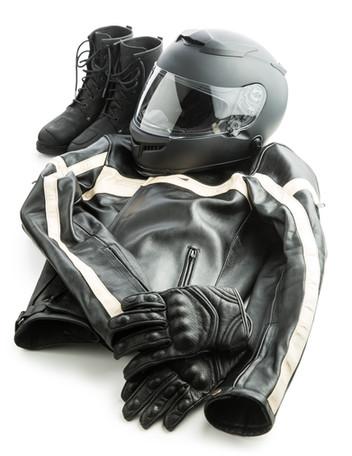 Motorcycle helmet, gloves, jacket and bo