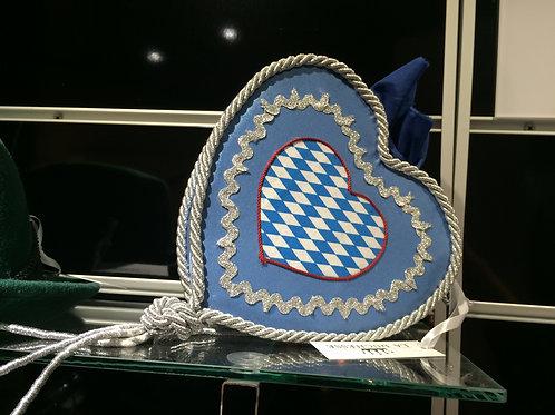 Stoffdirndltasche Herz blau silber