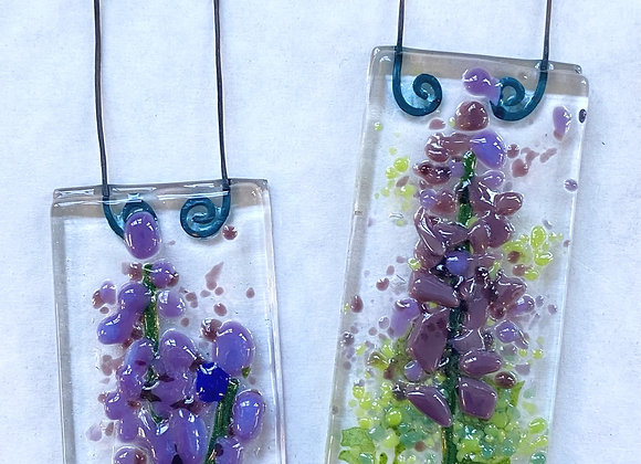 Fused Glass Lupine Ornaments