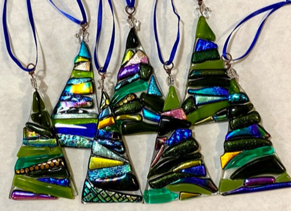 Dichroic Christmas Tree Ornaments