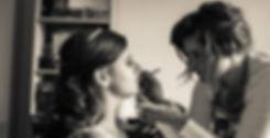 Wishbone & Comb. Bridal, wedding day makeup application.