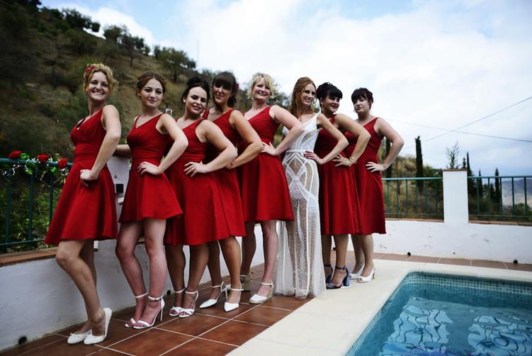 Bride Gwen with her bridesmaids.
