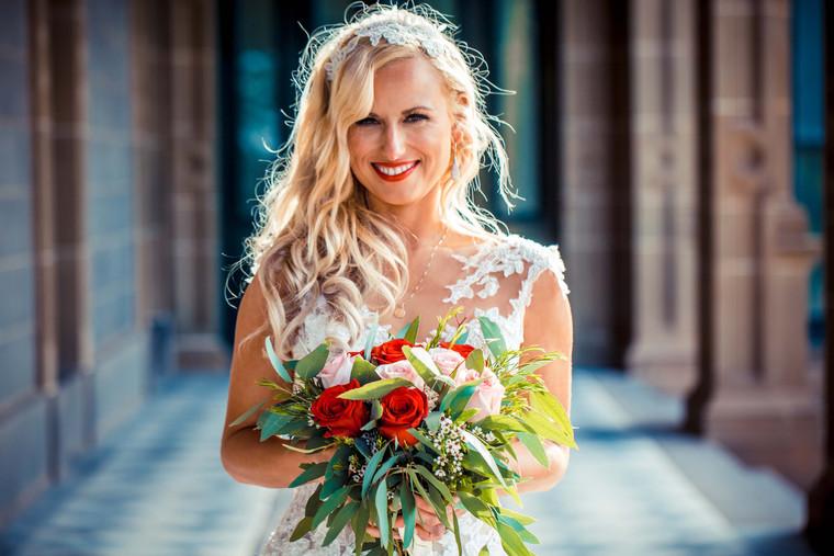 Bride Clare on her wedding day.
