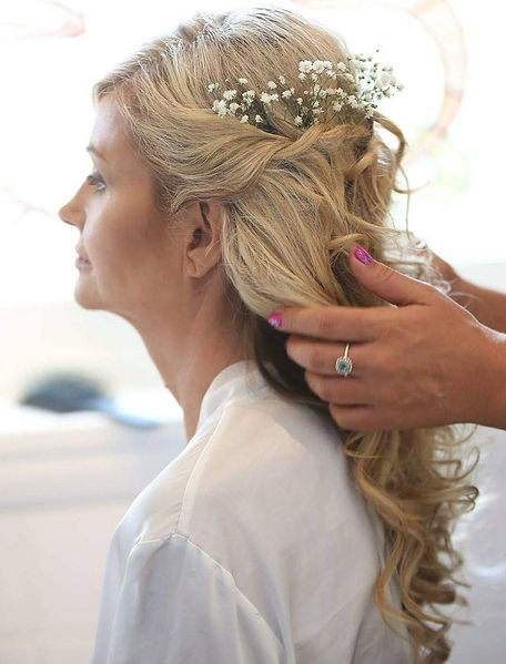 baby breath bridal hair up, bridal hair trial by Wishbone & Comb