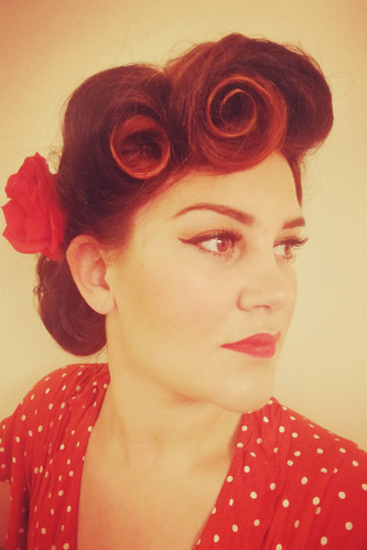 1950's inspired victory rolls