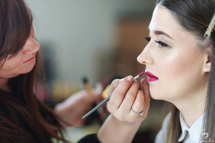 Bridal photoshoot makeup application.