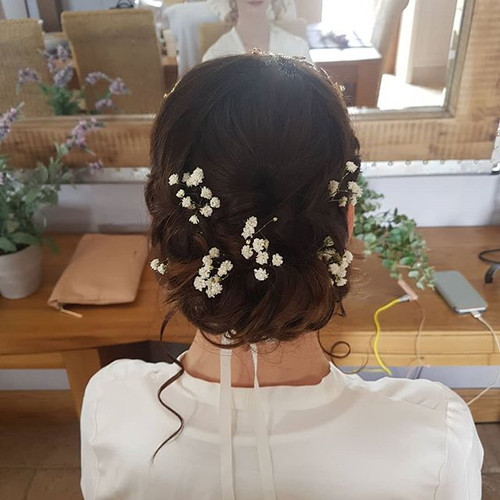 A bohemian bridal hairstyle for Hannah.