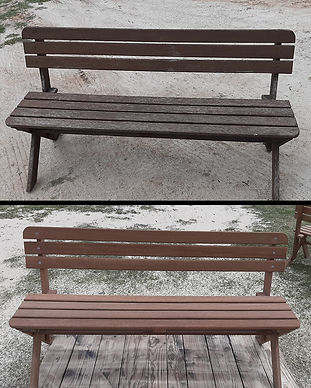 Sandblasting timber bench seats Blast Monkey Mobile Abrasive Blasting