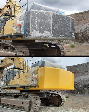 Excavator Sand Blasted and painted Blast Monkey Mobile Abrasive Blasting