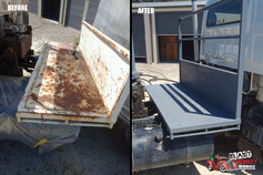 Truck tray blasting and priming