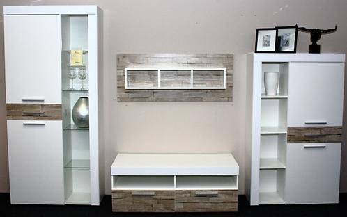Wohnwand weiß/Absatz Spaltholz