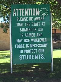 In front of Shamrock TX School