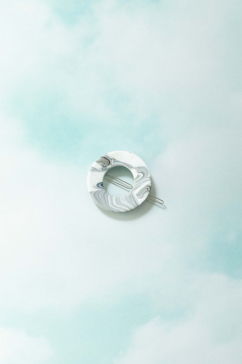 The Circle Barrette in BW Marble