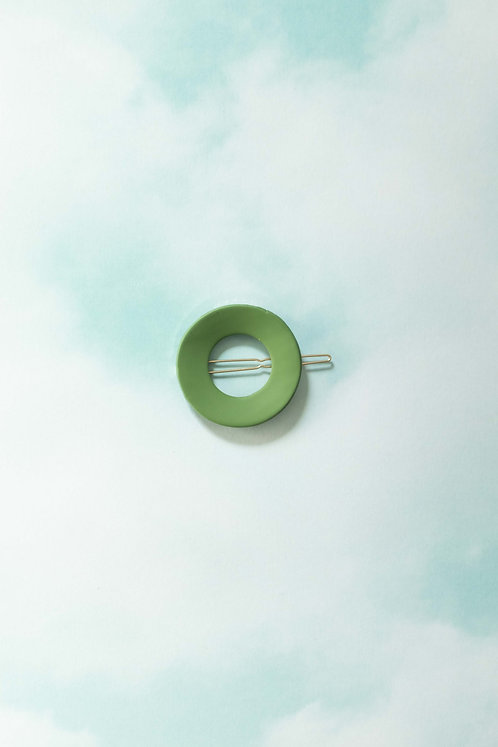 The Circle Barrette in Hunter