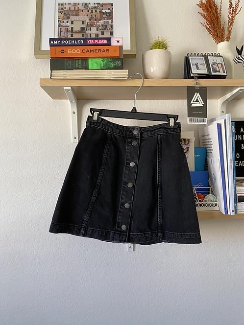 Topshop buttondown black jean skirt
