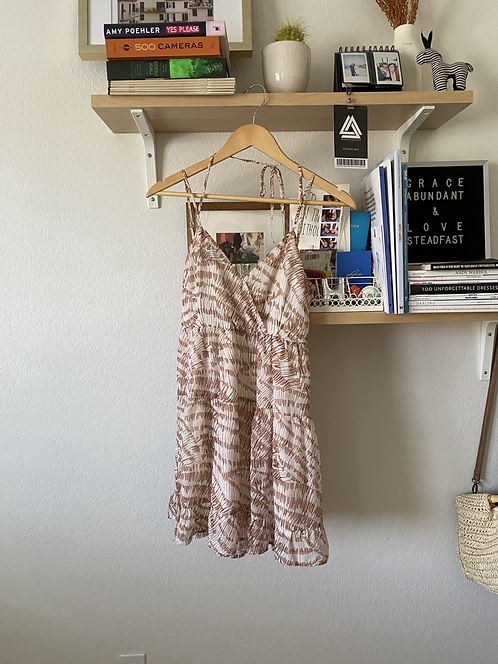 Open Back Pink Patterned Dress