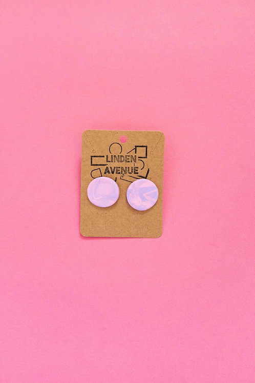 Circle Studs in Marbled Dusty Rose and Lavender
