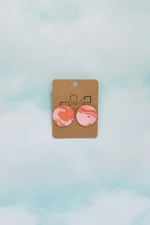 Large Circle Studs in Marbled Dusty Rose, Calypso, Terra-Cotta