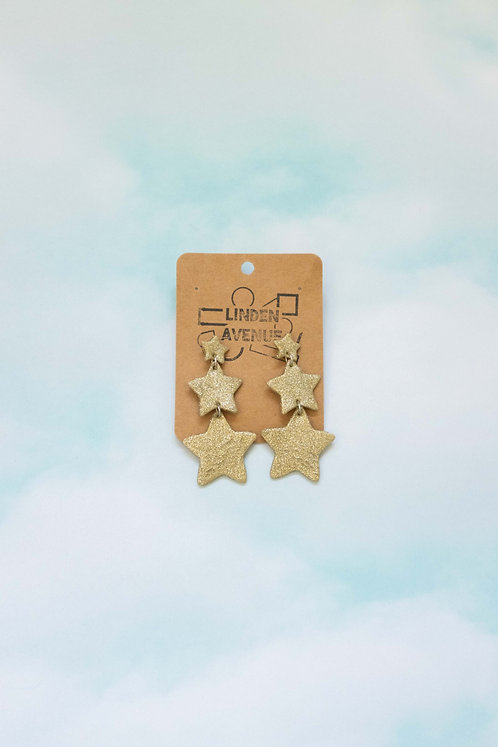 Star Dangles in Gold Sparkle