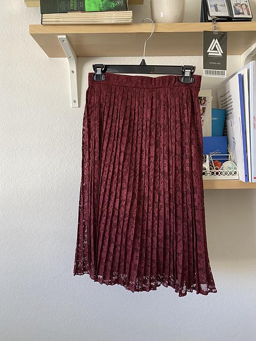 F21 Wine Pleated Lace Skirt