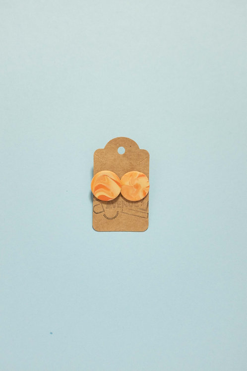 Marbled Light Tan and Terra-Cotta Circle Studs