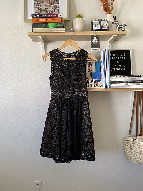Black Polka dot dress, nude lined