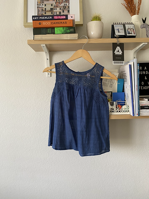 Crochet Lace Trim Blue Tank