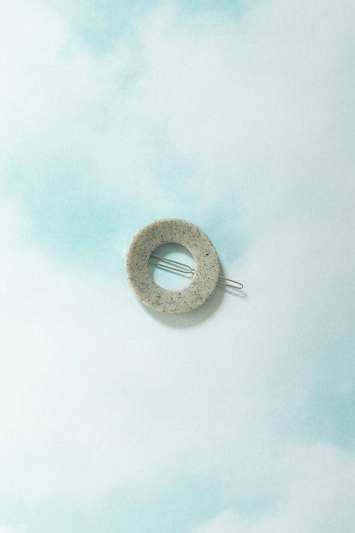 The Circle Barrette in Stone