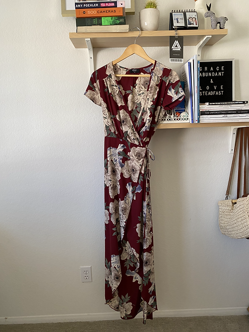 NastyGal Red Floral Wrap Dress