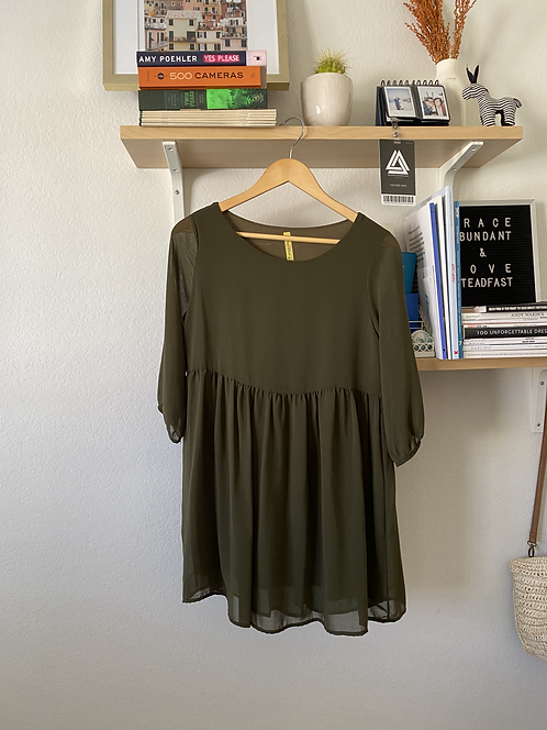 Moss Colored Shift Dress