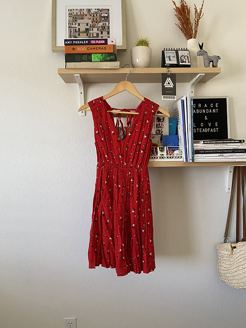 Madewell Red Floral Dress