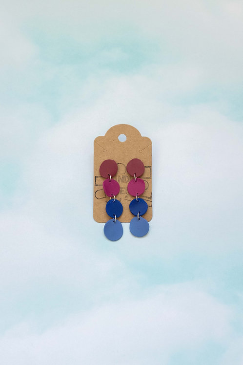The Pebble Earrings in Maroon Blues