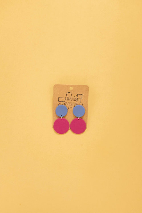 Duo Circle Dangles in Periwinkle and Magenta