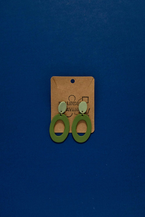 Oval Dangles in Pistachio and Hunter