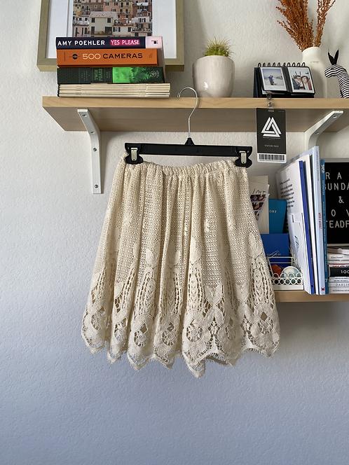 Crochet Lace Beige Skirt
