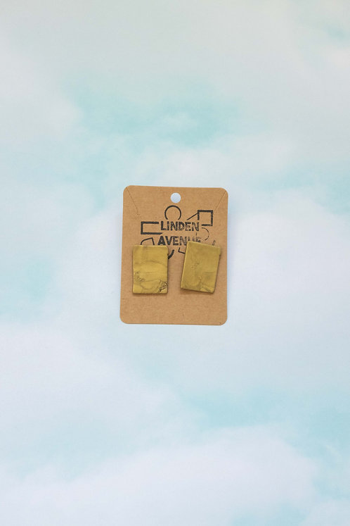Large Rectangle Studs in Antique Gold