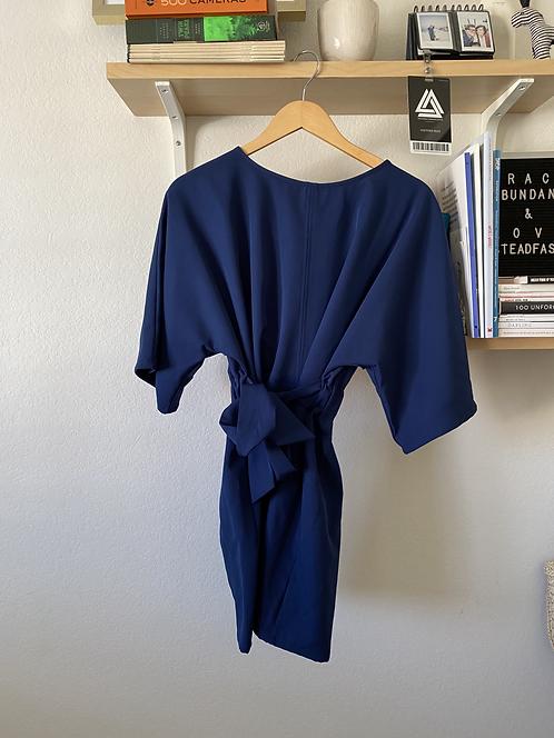 Navy Blue Kimono-Style Dress