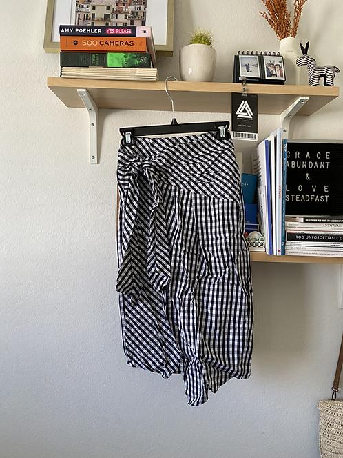 Nordstrom Gingham BW Wrap Skirt