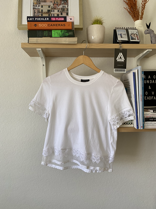 Topshop White Lace Trimmed Top