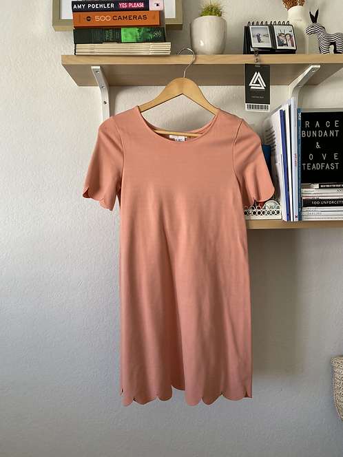 Peach Laser Cut Shift Dress
