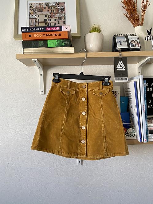 BDG Mustard Corduroy Buttondown Skirt