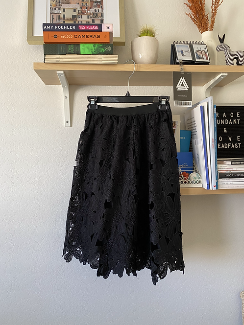 Black Large Floral Lace Skirt