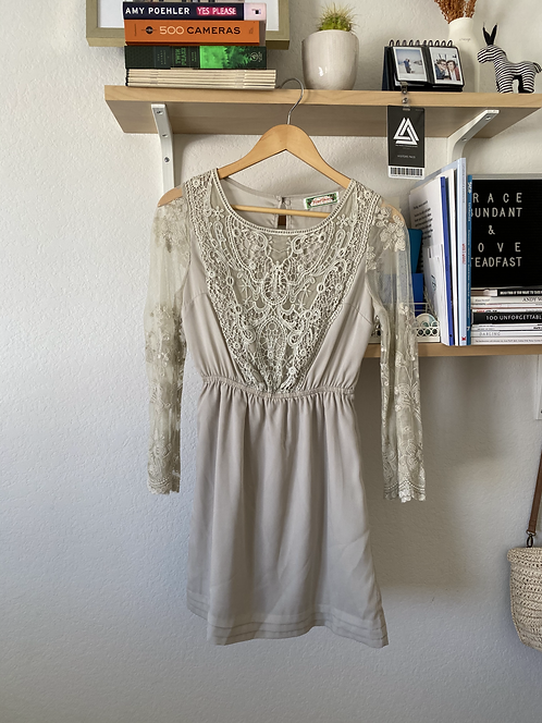 Grey Vintage Lace Dress