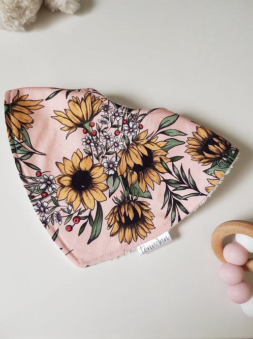 Pink Sunflowers Dribble Bib