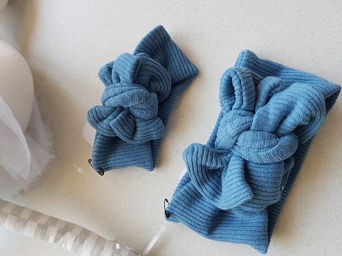 Ribbed Bow - Blue