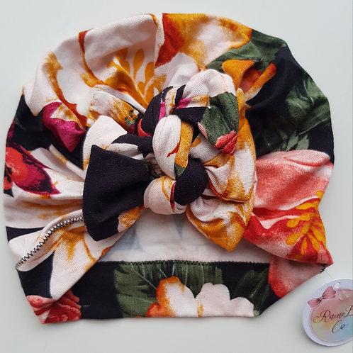 Vintage Floral Square Bow Turban